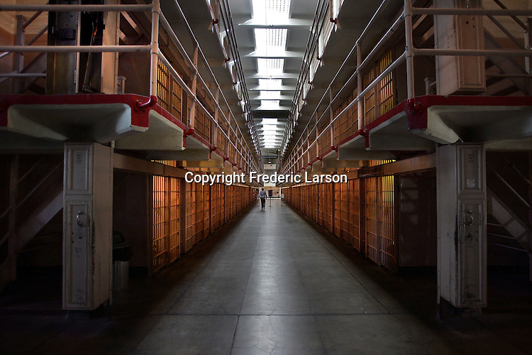 """Welcome to """"Broadway"""" in the main cellhouse where the new inmates were paraded in front of the other prisoners.  A group of photographers from the Media Alliance overnighted on Alcatraz and documented their tour of Alcatraz Island in San Francisco.."""