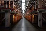 "Welcome to ""Broadway"" in the main cellhouse where the new inmates were paraded in front of the other prisoners.  A group of photographers from the Media Alliance overnighted on Alcatraz and documented their tour of Alcatraz Island in San Francisco.."