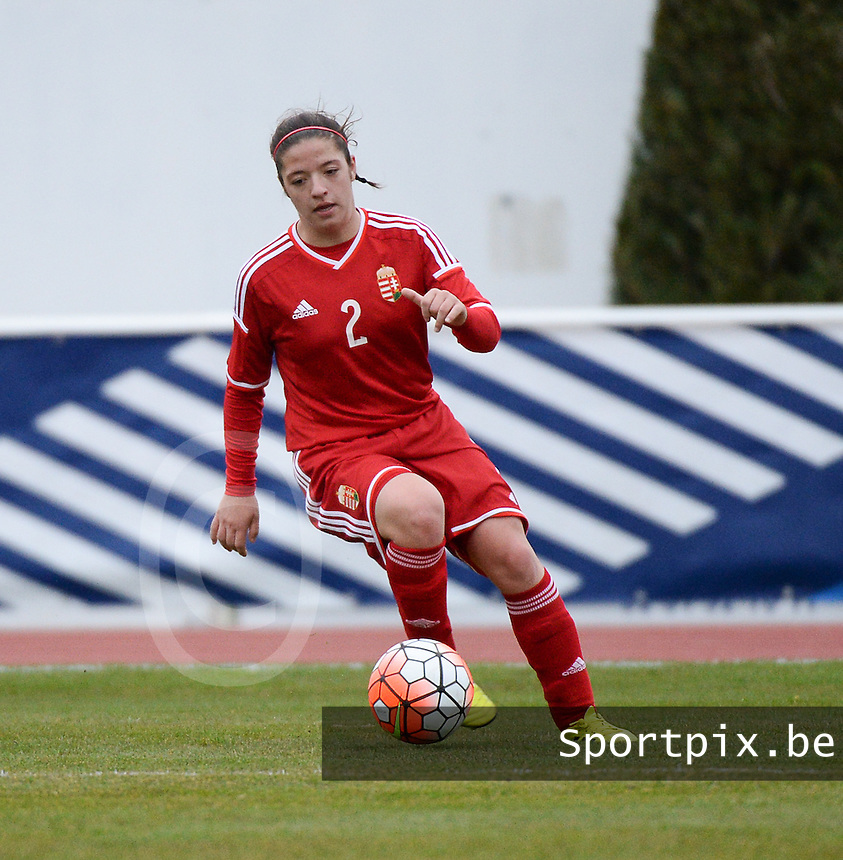 20160319 - BAYEUX , FRANCE : Hungarian Leticia Aida Anda pictured during the soccer match between the women under 17 teams of The Republic of Ireland and Hungary , on the first matchday in group 3 of the UEFA Women Under17 Elite rounds at Stade Henry Jeanne in Bayeux , France . Saturday 19th March 2016 . PHOTO DIRK VUYLSTEKE