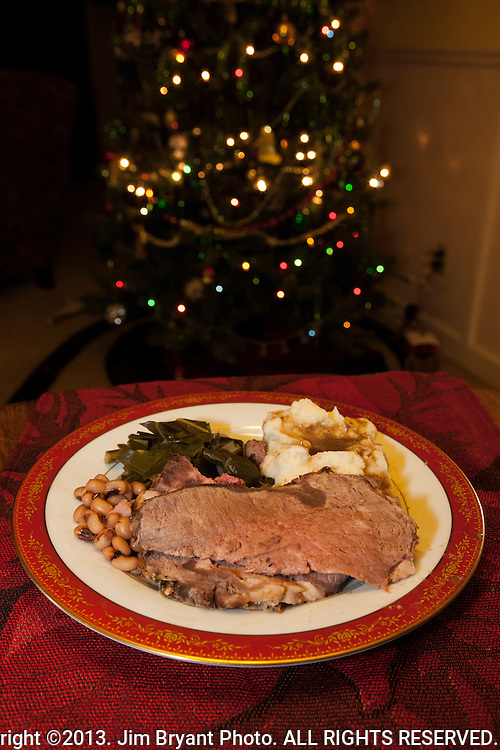 Prime Rib, Black Eyed Peas, Collards, Mashed Potatoes with Au Jur gravy.   ©2013. Jim Bryant Photo. ALL RIGHTS RESERVED.
