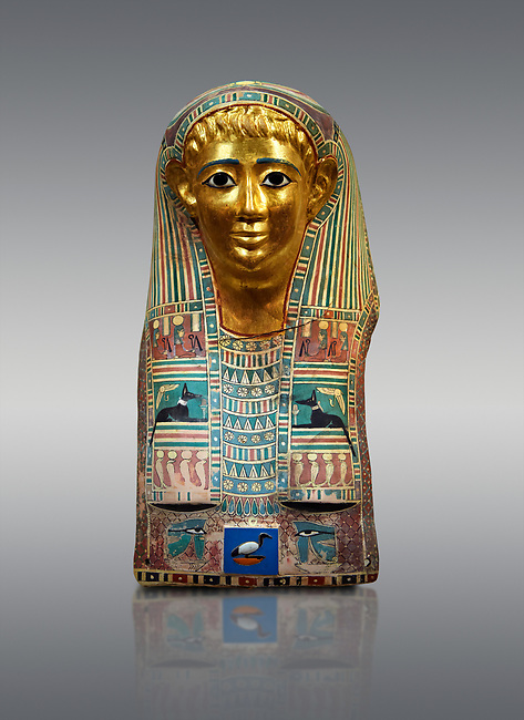 Ancient Egyptian mummy mask of Pasyg. 1st century BC. Neues Museum Berlin VAGM 1989/111.