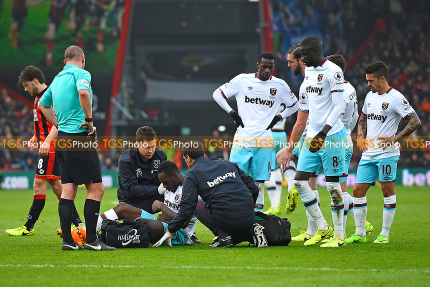 Injury concern for Michail Antonio of West Ham United during AFC Bournemouth vs West Ham United, Premier League Football at the Vitality Stadium on 11th March 2017