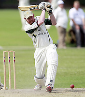 James Baker bats for North London during the Middlesex County Cricket League Division Three game between Highgate and North London at Park Road, Crouch End on Sat July 12, 2014