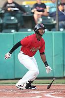 Brandon Jacobs #24 of the Visalia Rawhide bats against the Stockton Ports at Rawhide Ballpark on May 5, 2014 in Visalia California. Visalia defeated Stockton, 8-6. (Larry Goren/Four Seam Images)