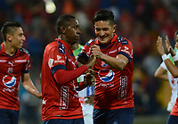 MEDELLÍN - COLOMBIA, 02-02-2018: Juan F Caicedo jugador del Medellín celebra con German Cano después de anotar un gol al Alianza P durante el partido entre Independiente Medellín y Atletico Huila por la fecha 1 de la Liga Águila II 2018 jugado en el estadio Atanasio Girardot de la ciudad de Medellín. / Juan F Caicedo player of Medellin celebrates with German Cano after scoring a goal to Alianza P during match between Independiente Medellin and Atletico Huila for the date 1 of the Aguila League II 2018 played at Atanasio Girardot stadium in Medellin city. Photo: VizzorImage/ León Monsalve / Cont
