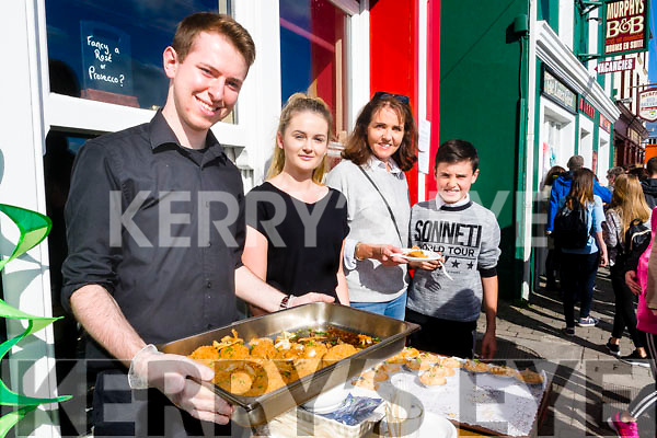 Kieran Fitzgerald Clodagh O'Sullivan Ellen Griffin and Luke Griffin (Lispole and Dingle), having fun at the Dingle Food Festival on Saturday last.