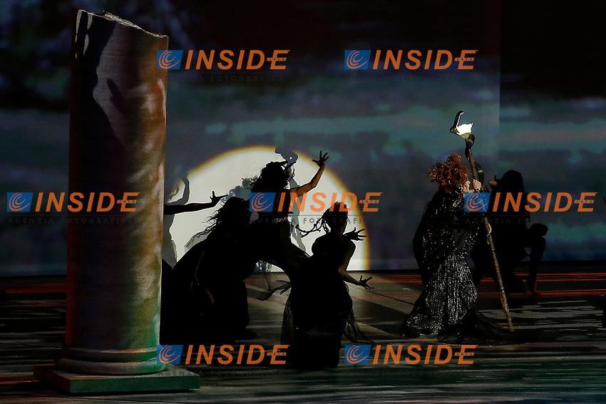 Roma 06/06/2017. Palatino. Anteprima del Musical 'Divo Nerone - Opera Rock'. L'enorme palco e' stato montato sulla cima del Colle Palatino, da dove si vede il Colosseo.<br /> Rome June 6th 2017. Palatine Hill. Musical 'Nerone Star - Rock Opera'. For the occasion, a huge stage was built on the top pf Palatino Hill, with a view on the Coliseum<br /> Foto Samantha Zucchi Insidefoto