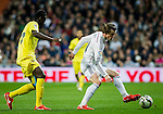 Real Madrid Galese forward Gareth Bale during spanish league football match beetwen Real Madrid and Villarreal CF at the Santiago Bernabeu stadium in Madrid on march 01, 2015. Samuel de Roman / Photocall3000