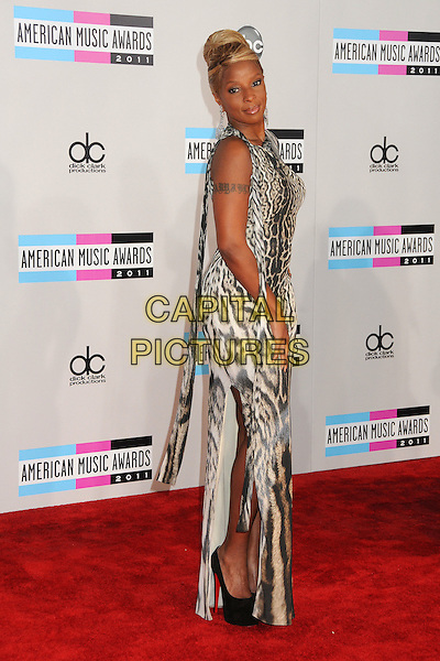Mary J. Blige.2011 American Music Awards - Arrivals held at Nokia Theatre LA Live, Los Angeles, California, USA..November 20th, 2011.ama amas ama's full length grey gray beige leopard animal print one sleeve dress  side slit split .CAP/ADM/BP.©Byron Purvis/AdMedia/Capital Pictures.