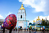 Kiev, Ukraine <br /> people and places, churches and street art around Kiev city centre which hosts the Eurovision Song Contest on 13th May 2017 at the International Exhibition Centre in Kiev, Ukraine<br /> St Michael's Golden Domed Monestery <br /> with giant Easter Eggs outside as part of the Easter festival celebrations  <br /> Kiev in Ukraine <br /> <br /> Photograph by Elliott Franks <br /> Image licensed to Elliott Franks Photography Services