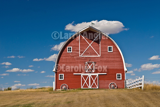 Red arch-roof barn with metal cupola ventilator with horse weather vane, white trim, 6-pointed star.