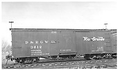 Side view of box car #3612 at Alamosa.  Stencilled &quot;Flour Sugar and Bean Loading Only&quot;.<br /> D&amp;RGW  Alamosa, CO  Taken by Maxwell, John W. - 1/18/1946