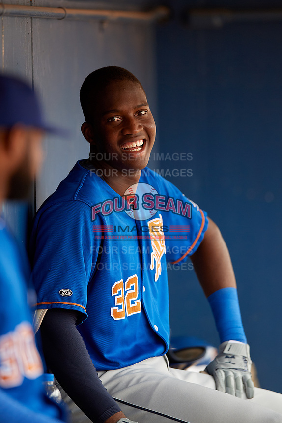 Durham Bulls Jesus Sanchez (32) during an International League game against the Toledo Mud Hens on July 16, 2019 at Fifth Third Field in Toledo, Ohio.  Durham defeated Toledo 7-1.  (Mike Janes/Four Seam Images)