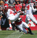 Rutgers takes on New Mexico in a NCAA football game at High Point Solutions Stadium in Piscataway on Saturday September 17, 2016<br /> <br /> Rutgers # 33 (right) Greg Jones upend's New Mexico's # 20 (left) Daryl Chestnut during the 1st quarter of play.