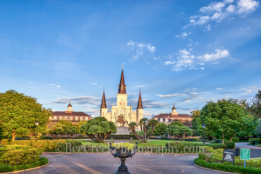 Jackson Square Lousianna in the early morning before the crowds got here. You can see the Saint Louis Cathedral in the background of this cityscapes in downtown New Orleans.  This area French Quarter, , is the oldest neighborhood in the city of New Orleans. After New Orleans was founded in 1718 by Jean-Baptiste Le Moyne de Bienville, the city developed around the &quot;Old Square&quot;, a central square. The district is more commonly called the French Quarter today, or simply &quot;The Quarter,&quot; related to changes in the city with American immigration after the Louisiana Purchase. Most of the historic buildings were constructed either in the late 18th century, during the city's period of Spanish rule, or were built during the first half of the 19th century, after U.S. annexation and statehood.<br />