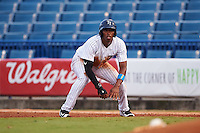 Tampa Yankees center fielder Rashad Crawford (22) leads off first during a game against the Daytona Tortugas on August 5, 2016 at George M. Steinbrenner Field in Tampa, Florida.  Tampa defeated Daytona 7-1.  (Mike Janes/Four Seam Images)