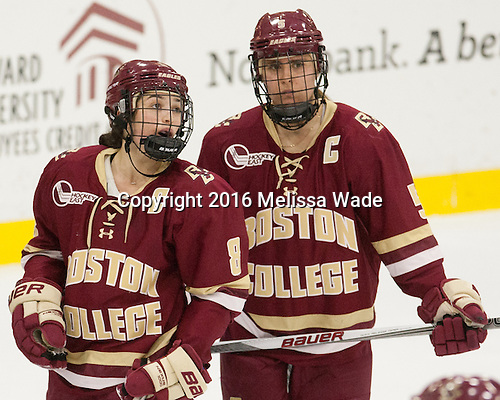 Dana Trivigno (BC - 8), Alex Carpenter (BC - 5) - The visiting Boston College Eagles defeated the Harvard University Crimson 2-0 on Tuesday, January 19, 2016, at Bright-Landry Hockey Center in Boston, Massachusetts.