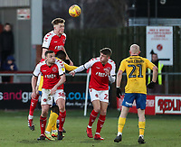 Fleetwood Town's Harry Souttar heads clear  <br /> <br /> Photographer Andrew Kearns/CameraSport<br /> <br /> The EFL Sky Bet League One - Fleetwood Town v Charlton Athletic - Saturday 2nd February 2019 - Highbury Stadium - Fleetwood<br /> <br /> World Copyright © 2019 CameraSport. All rights reserved. 43 Linden Ave. Countesthorpe. Leicester. England. LE8 5PG - Tel: +44 (0) 116 277 4147 - admin@camerasport.com - www.camerasport.com