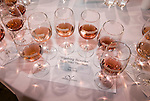 Glasses of blush wines presented for side-by-side tasting, Amador Vintners' Behind the Cellar Door wine eduction seminars and food at various Amador County wineries--Montevina Winery