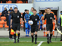 Referee Ollie Yates leads the sides out<br /> <br /> Photographer Kevin Barnes/CameraSport<br /> <br /> The EFL Sky Bet League One - Blackpool v Gillingham - Saturday 4th May 2019 - Bloomfield Road - Blackpool<br /> <br /> World Copyright © 2019 CameraSport. All rights reserved. 43 Linden Ave. Countesthorpe. Leicester. England. LE8 5PG - Tel: +44 (0) 116 277 4147 - admin@camerasport.com - www.camerasport.com