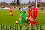 Kerry's Martin Coughlin gets away from cork's Ronan Hurley and Wiliam Armshaw  in the  SSE Airtricity U17 League of Ireland Kerry  V  Cork City at Mounthawk Park on Sunday