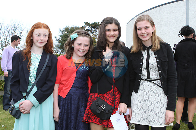 Siobhan Pointen, Niamh O'Callaghan, Fodhla Ní Mhurchú and Rebecca Ryan at the Confirmation in Laytown Church...Photo NEWSFILE/Jenny Matthews.