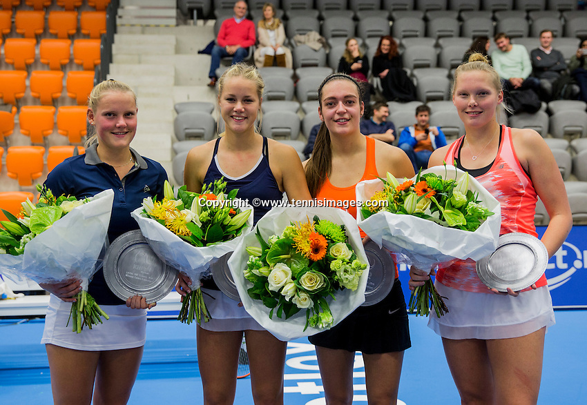 Rotterdam, Netherlands, December 14, 2016, Topsportcentrum, Lotto NK Tennis, Lady's doubles, Winners: Suzan Lamens (L) and Nina Kuijer  and runners up Tiffany Höberth and Kelly Versteeg<br /> Photo: Tennisimages/Henk Koster