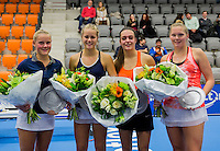 Rotterdam, Netherlands, December 14, 2016, Topsportcentrum, Lotto NK Tennis, Lady's doubles, Winners: Suzan Lamens (L) and Nina Kuijer  and runners up Tiffany H&ouml;berth and Kelly Versteeg<br /> Photo: Tennisimages/Henk Koster