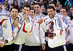 Third placed Croatian handball players celebrate after men`s EHF EURO 2012 handball championship  in Belgrade, Serbia, Sunday, January 29, 2011.  (photo: Pedja Milosavljevic / thepedja@gmail.com / +381641260959)