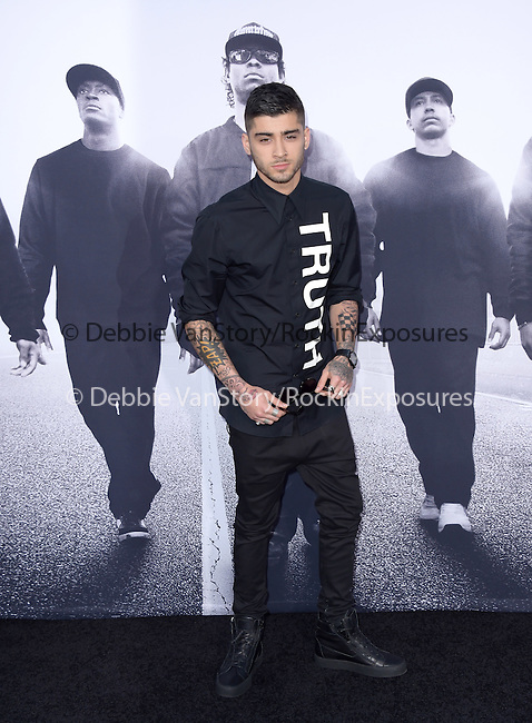 Zayn Malik attends The Universal Pictures' STRAIGHT OUTTA COMPTON World Premiere held at The Microsoft Theatre  in Los Angeles, California on August 10,2015                                                                               © 2015 Hollywood Press Agency