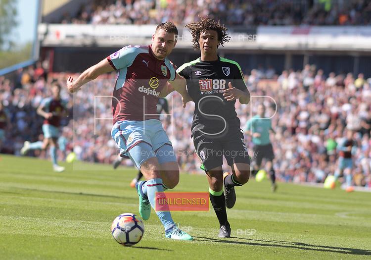 13/05/2018 Premier League Burnley v AFC Bournemouth<br /> <br /> Sam Vokes attack