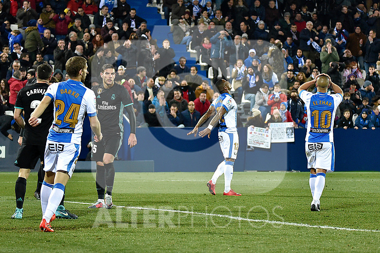 Leganes Claudio Beauvue fail goal and dejected vs Real Madrid during Copa del Rey  match. A quarter of final go. 20180118.