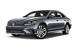 Stock pictures of low aggressive front three quarter view of 2017 Volkswagen Passat R-Line 4 Door Sedan