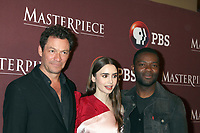 LOS ANGELES - FEB 1:  Dominic West, Lily Collins, David Oyelowo at the Masterpiece Photo Call at the Langham Huntington Hotel on February 1, 2019 in Pasadena, CA
