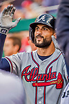 8 July 2017: Atlanta Braves outfielder Nick Markakis returns to the dugout after hitting a solo home run in the 7th inning against the Washington Nationals at Nationals Park in Washington, DC. The Braves shut out the Nationals 13-0 to take the third game of their 4-game series. Mandatory Credit: Ed Wolfstein Photo *** RAW (NEF) Image File Available ***