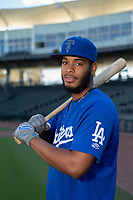 Tulsa Drillers infielder Christian Santana (23) poses for a photo on May 13, 2019, at Arvest Ballpark in Springdale, Arkansas. (Jason Ivester/Four Seam Images)