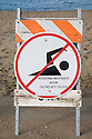 A no swimming sign stands in front of the closed beach at Crissy Field in San Francisco(11/12/07). On November 7, 2007 the Cosco Busan container ship spilled an estimated 58,000 gallons of bunker fuel into San Francisco Bay after striking a tower of the San Francisco-Oakland Bay Bridge.