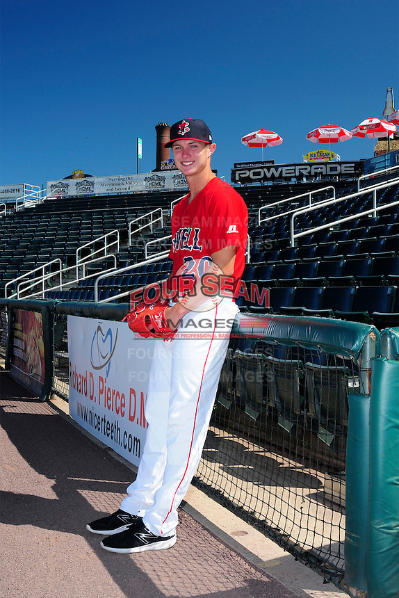 Lowell Spinners pitcher Travis Lakins (20) poses for a photo prior to a game versus the Vermont Lake Monsters at LeLacheur Park on September 6, 2015 in Lowell, Massachusetts. (Ken Babbitt/Four Seam Images)