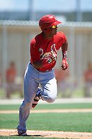 GCL Cardinals third baseman Starlin Balbuena (46) runs to first during the second game of a doubleheader against the GCL Marlins on August 13, 2016 at Roger Dean Complex in Jupiter, Florida.  GCL Cardinals defeated GCL Marlins 2-0.  (Mike Janes/Four Seam Images)