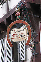 wrought iron sign restaurant au fer rouge colmar alsace france