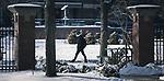 A student walks across the Quad on DePaul University's Lincoln Park Campus February, 2018. (DePaul University/Jeff Carrion)