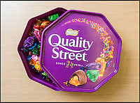 BNPS.co.uk (01202 558833)<br /> Pic: TomWren/BNPS<br /> <br /> An original member of the Quality Street lineup has made way for a new chocolate after 80 years. <br /> <br /> The Toffee Deluxe was created in 1919 as a sweet in its own right and was included in the first ever box of Quality Street when it was invented in 1936.<br /> <br /> The stalwart, that has a brown wrapper, has now bitten the dust and has been ditched in favour of the new 'Honeycomb Crunch' sweet.