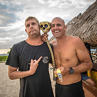 NAMOTU, Fiji (Tuesday, June 13, 2017) Mick Fanning (AUS) with Kelly Slater (USA) after both had done a Namotu Skulldrag. Kelly lost a bet with Leo Fioravanti (ITA) over the result of his heat with John John Florence while it was Mick's 26th birthday. - Competition has been called on today at Stop No. 5 on the 2017 World Surf League (WSL) Championship Tour (CT), the Outerknown Fiji Pro. The remaining heats of Round 3 will get underway at 12 p.m. at Cloudbreak in four-to-five foot surf. <br /> <br /> &quot;The swell is here and it's 4 - 5 foot and building,&quot; said WSL Deputy Commissioner, Renato Hickel. &quot;Seven days after we last ran we're finally going to recommence competition today. We're going to start with Round 3 at 12 noon.&quot;<br /> <br /> Location:      Tavarua/Namotu, Fiji<br /> Event window:   June 4 - 16, 2017<br /> Today's call:<br />  Round 3 called ON for 12 PM start <br /> Conditions:         4 - 5 foot (1.2 - 1.5 metre)<br /> <br /> Photo: joliphotos.com