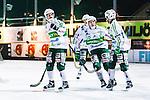 Stockholm 2014-03-05 Bandy SM-semifinal 3 Hammarby IF - V&auml;ster&aring;s SK :  <br /> V&auml;ster&aring;s Tobias Holmberg jublar med V&auml;ster&aring;s Ted Bergstr&ouml;m och lagkamrater efter att ha reducerat till 3-4 i den andra halvleken<br /> (Foto: Kenta J&ouml;nsson) Nyckelord:  VSK Bajen HIF jubel gl&auml;dje lycka glad happy