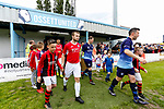 Players and mascots take to the pitch. Yorkshire v Parishes of Jersey, CONIFA Heritage Cup, Ingfield Stadium, Ossett. Yorkshire's first competitive game. The Yorkshire International Football Association was formed in 2017 and accepted by CONIFA in 2018. Their first competative fixture saw them host Parishes of Jersey in the Heritage Cup at Ingfield stadium in Ossett. Yorkshire won 1-0 with a 93 minute goal in front of 521 people. Photo by Paul Thompson