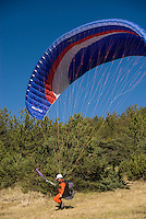 Saint Vincent-les-Forts, Lac de Serre Poncon, France, September 2007. Op Pad Magazine winner Henk Dijkink, was selected for paragliding training. Volantis is home to the paragliding school Inferno. In one week time, students learn to fly the paraglider and earn their mountain licence 1. Photo by Frits Meyst/Adventure4ever.com