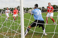 New York Red Bulls Nicholas Gendron (9) takes a shot on Real Colorado goalkeeper Josh Euell (30). Real Colorado v New York Red Bulls U17/18 during day one of the US Soccer Development Academy  Spring Showcase in Sarasota, FL, on May 22, 2009.