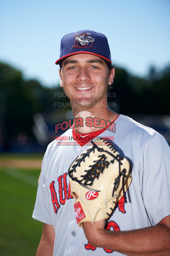 Auburn Doubledays pitcher A.J. Bogucki (10) poses for a photo before a game against the Batavia Muckdogs on September 5, 2016 at Dwyer Stadium in Batavia, New York.  Batavia defeated Auburn 4-3. (Mike Janes/Four Seam Images)