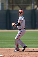 San Francisco Giants second baseman Tyler Brown (8) during a Minor League Spring Training game against the Oakland Athletics at Lew Wolff Training Complex on March 26, 2018 in Mesa, Arizona. (Zachary Lucy/Four Seam Images)
