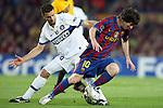Football - FC Barcelona v Inter Milan UEFA Champions League Semi Final Second Leg - Camp Nou Stadium, Barcelona, Spain - 28/4/10 Inter Milan's Thiago Motta and Lionel Messi of Barcelona
